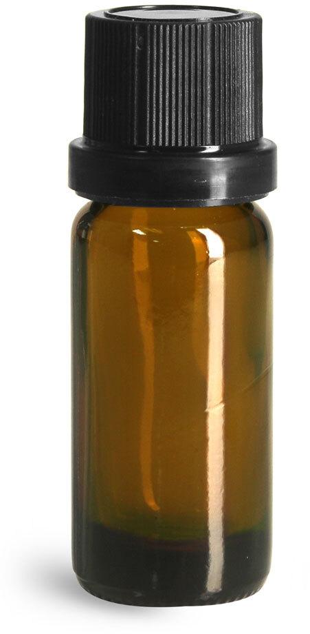 Glass Bottles, Amber Glass Euro Dropper Bottles w/ Black Tamper Evident Caps and Dropper Inserts