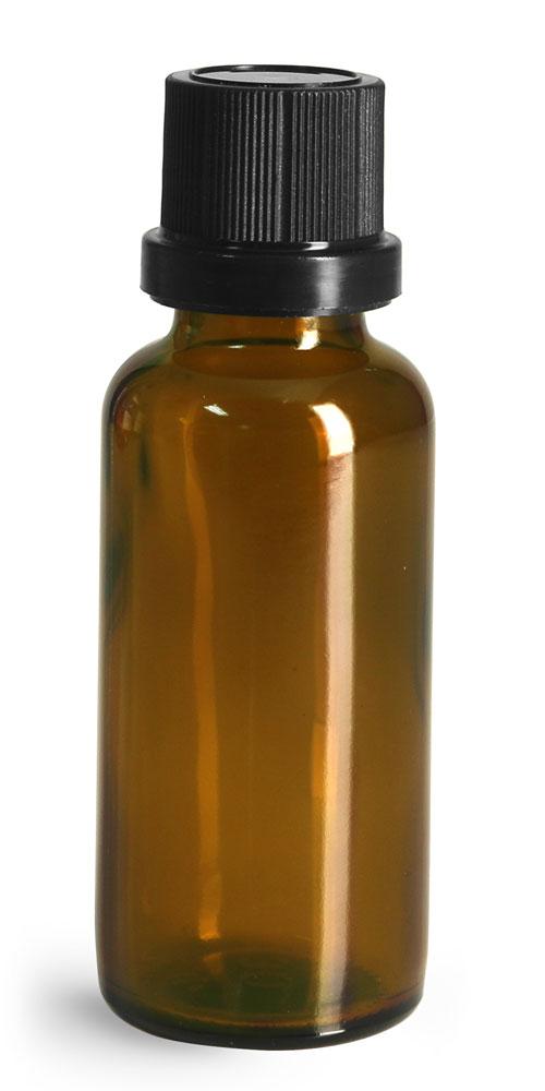 30 ml Glass Bottles, Amber Glass Euro Dropper Bottles w/ Black Tamper Evident Caps and Dropper Inserts