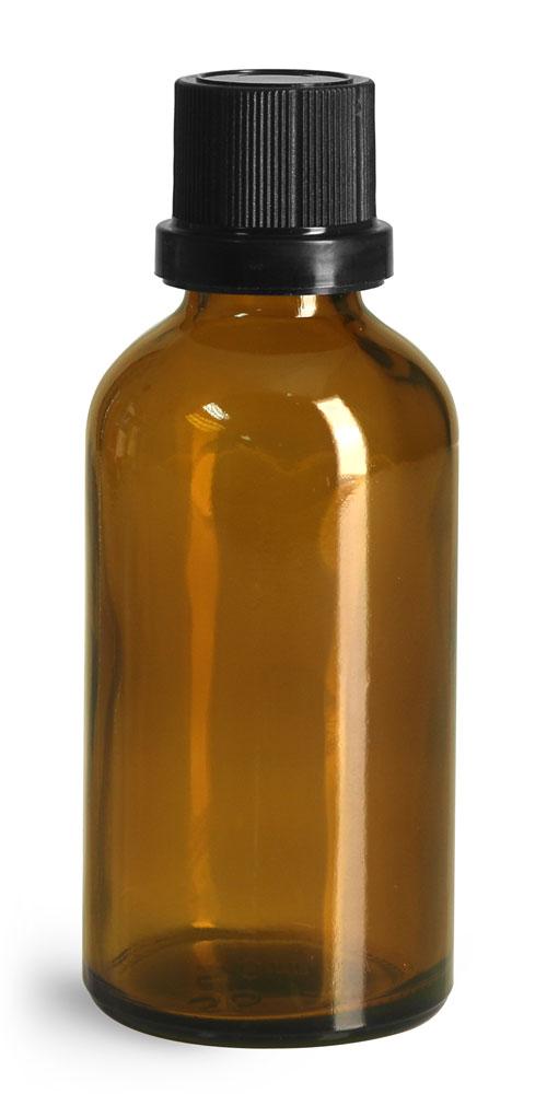 50 ml Glass Bottles, Amber Glass Euro Dropper Bottles w/ Black Tamper Evident Caps and Dropper Inserts