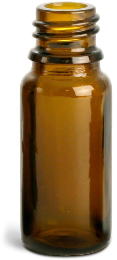 Amber Glass Euro Dropper Bottles (Bulk), Caps NOT Included