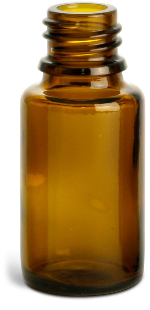 15 ml Amber Glass Euro Dropper Bottles (Bulk), Caps NOT Included