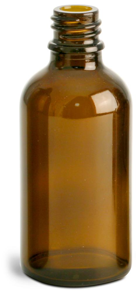 50 ml Amber Glass Euro Dropper Bottles (Bulk), Caps NOT Included