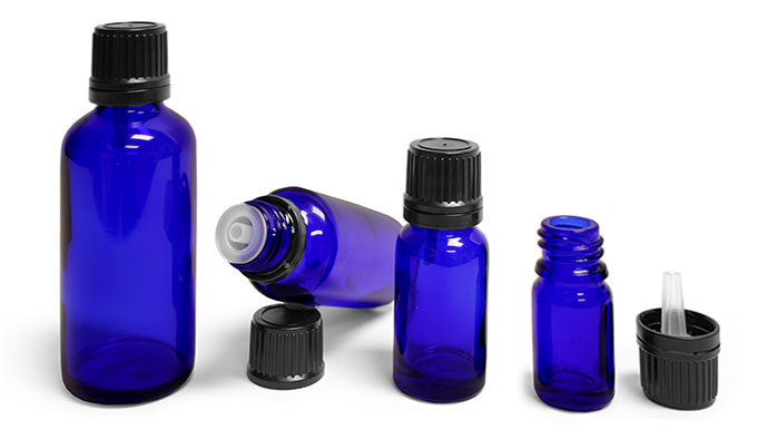 Blue Glass Euro Dropper Bottles w/ Black Tamper Evident Caps & Orifice Reducers'