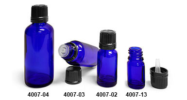 Original Blue Glass Euro Dropper Bottles w/ Black Tamper Evident Caps and Orifice Reducers