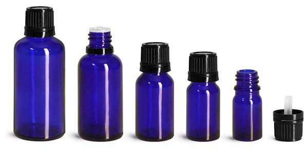 Blue Glass Bottles, Euro Dropper Bottles w/ Black Tamper Evident Caps & Orifice Reducer