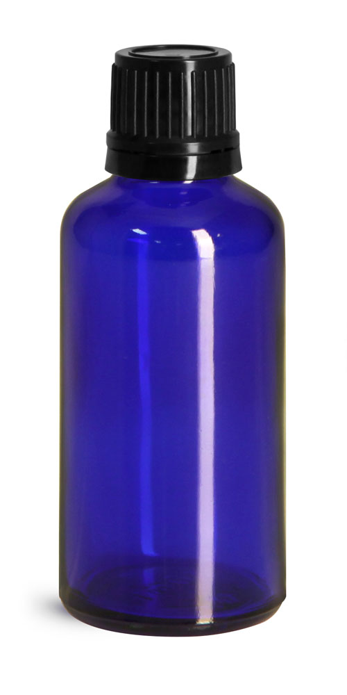 Blue Glass Euro Dropper Bottles w/ Black Tamper Evident Caps & Orifice Reducers