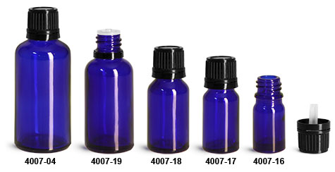 Glass Bottles, Blue Glass Euro Dropper Bottles w/ Black Tamper Evident Caps & Orifice Reducer