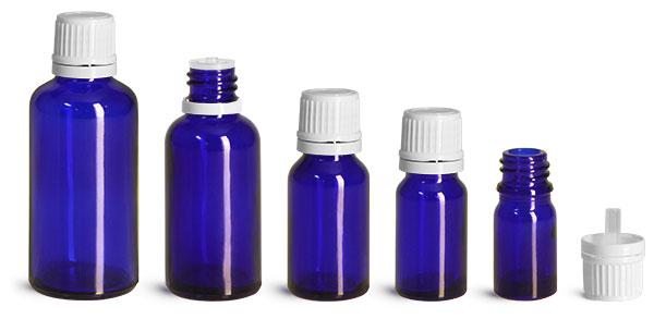 Blue Glass Bottles, Euro Dropper Bottles w/ White Tamper Evident Caps & Orifice Reducer
