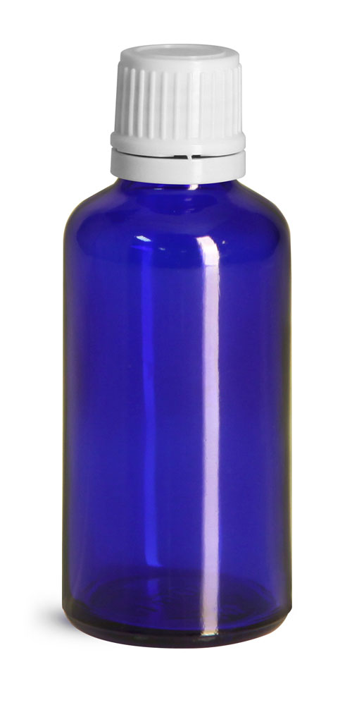 50 ml Blue Glass Euro Dropper Bottles w/ White Tamper Evident Caps and Orifice Reducers