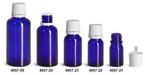 Glass Bottles, Blue Glass Euro Dropper Bottles w/ White Tamper Evident Caps & Orifice Reducer