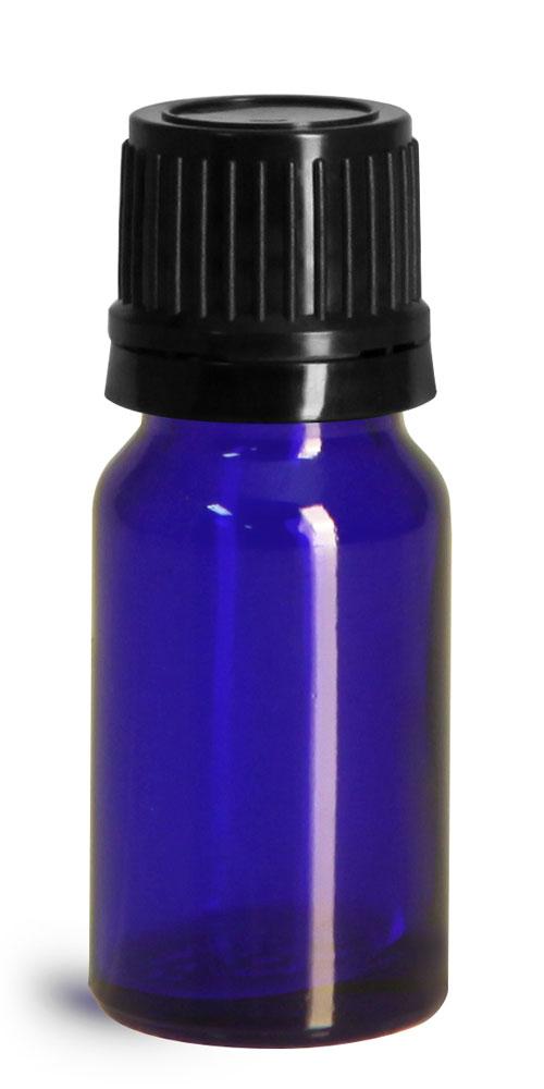 10 ml Glass Bottles, Cobalt Blue Glass Euro Dropper Bottles w/ Black Tamper Evident Caps & Orifice Reducer