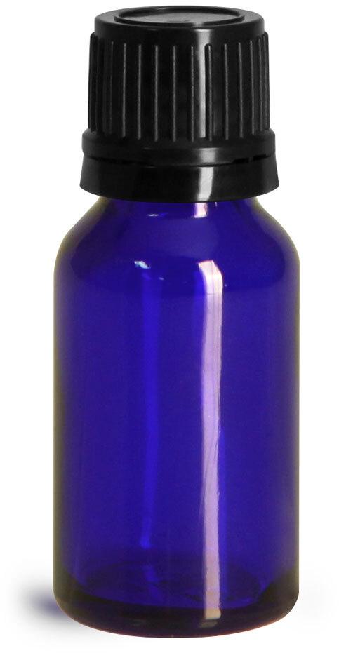 Glass Bottles, Cobalt Blue Glass Euro Dropper Bottles w/ Black Tamper Evident Caps & Orifice Reducer