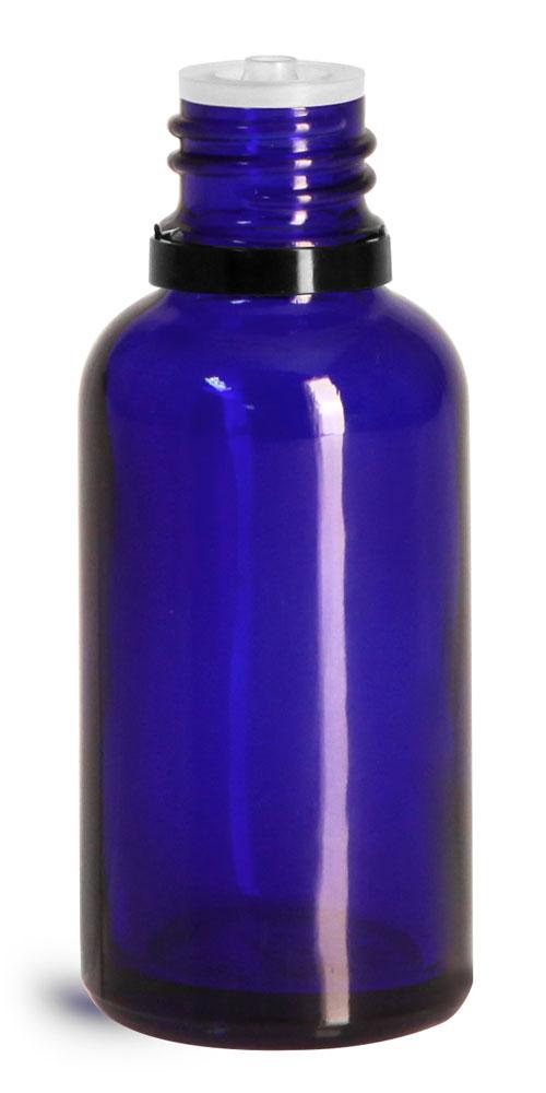 30 ml Glass Bottles, Cobalt Blue Glass Euro Dropper Bottles w/ Black Tamper Evident Caps & Orifice Reducer