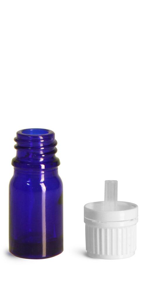 5 ml Glass Bottles, Cobalt Blue Glass Euro Dropper Bottles w/ White Tamper Evident Caps & Orifice Reducer