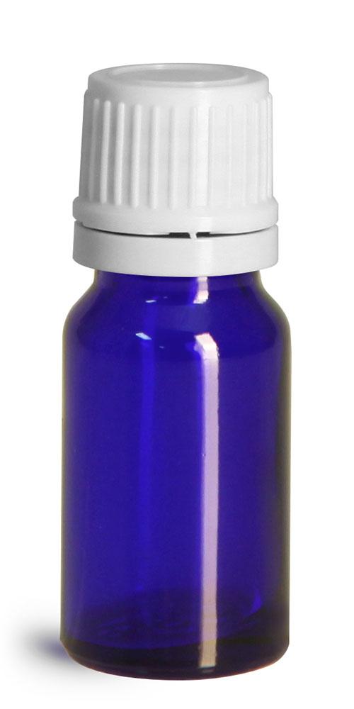 10 ml Glass Bottles, Cobalt Blue Glass Euro Dropper Bottles w/ White Tamper Evident Caps & Orifice Reducer