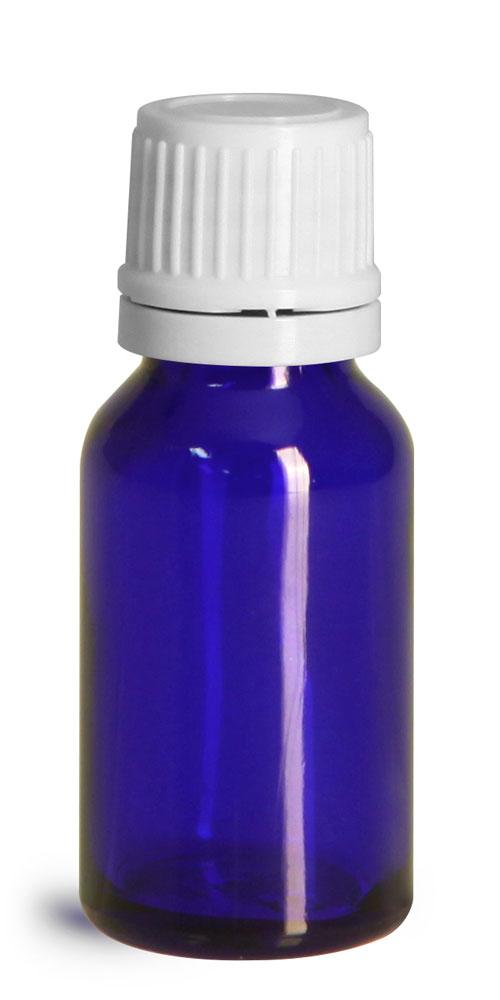 15 ml Glass Bottles, Cobalt Blue Glass Euro Dropper Bottles w/ White Tamper Evident Caps & Orifice Reducer