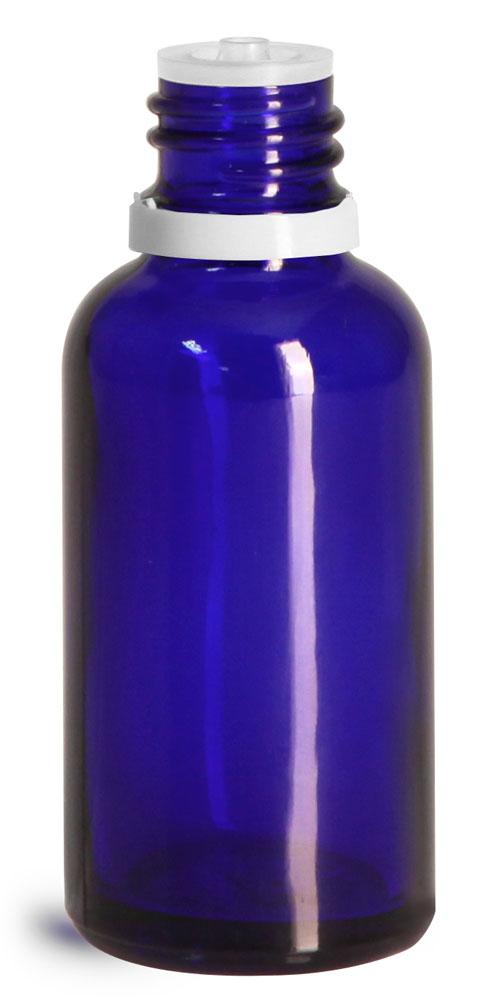 30 ml Glass Bottles, Cobalt Blue Glass Euro Dropper Bottles w/ White Tamper Evident Caps & Orifice Reducer