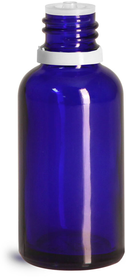 Glass Bottles, Cobalt Blue Glass Euro Dropper Bottles w/ White Tamper Evident Caps & Orifice Reducer