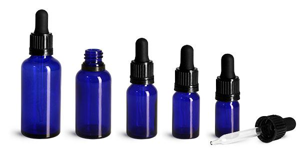 Blue Glass Bottles, Euro Dropper Bottles w/ Black Tamper Evident Bulb Droppers