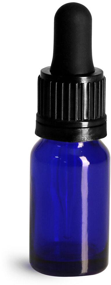 Glass Bottles, Cobalt Blue Glass Euro Dropper Bottles w/ Black Tamper Evident Bulb Droppers