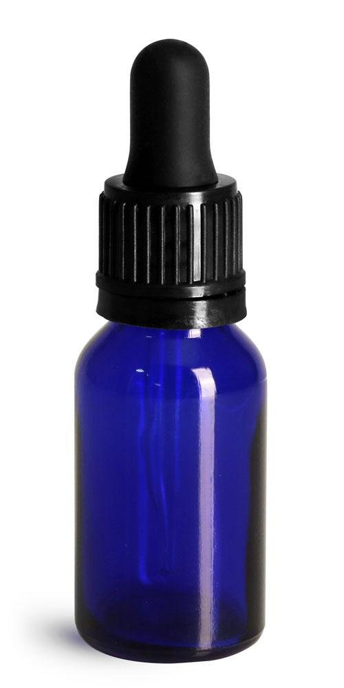 15 ml Glass Bottles, Cobalt Blue Glass Euro Dropper Bottles w/ Black Tamper Evident Bulb Droppers