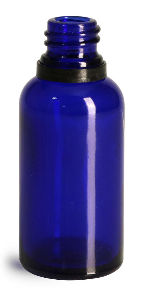 30 ml Glass Bottles, Cobalt Blue Glass Euro Dropper Bottles w/ Black Tamper Evident Bulb Droppers