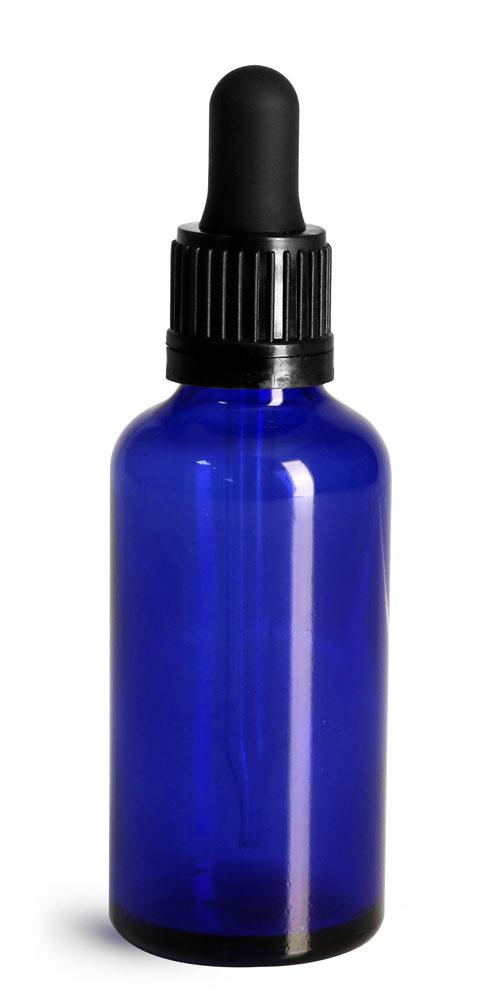 50 ml Glass Bottles, Cobalt Blue Glass Euro Dropper Bottles w/ Black Tamper Evident Bulb Droppers