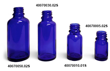 Original Blue Glass Euro Dropper Bottles (Bulk)