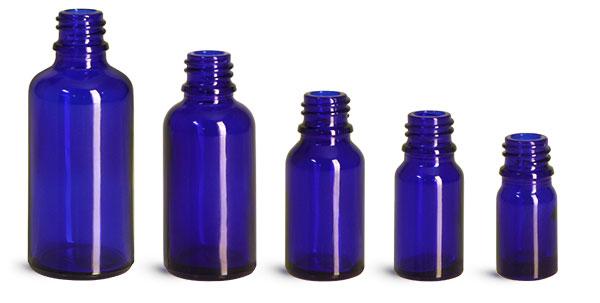 Cobalt Blue Glass Euro Dropper Bottles (Bulk), Caps NOT Included