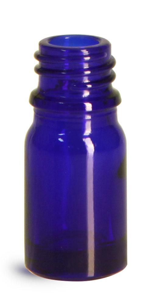 5 ml Glass Bottles, Cobalt Blue Glass Euro Dropper Bottles (Bulk), Caps NOT Included