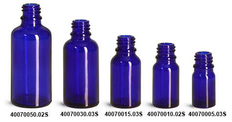 Glass Bottles, Cobalt Blue Glass Euro Dropper Bottles (Bulk), Caps NOT Included