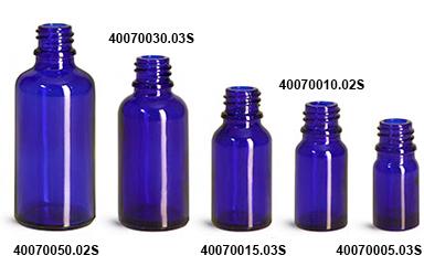 New Blue Glass Euro Dropper Bottles (Bulk)