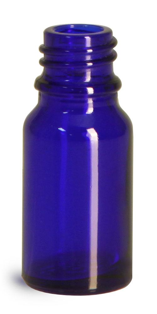 10 ml Glass Bottles, Cobalt Blue Glass Euro Dropper Bottles (Bulk), Caps NOT Included