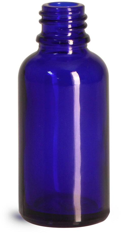Glass Bottles, Cobalt Blue Glass Euro Dropper Bottles (Bulk), Caps NOT Included