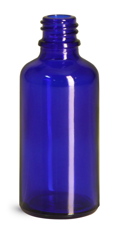 Blue Glass Euro Dropper Bottles (Bulk), Caps NOT Included