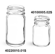 Glass Bottles, Clear Glass Pharmaceutical Round Bottles (Bulk), Caps NOT Included