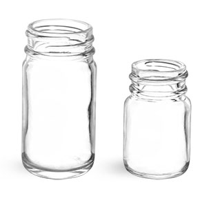 Clear Glass Pharmaceutical Round Bottles (Bulk), Caps NOT Included