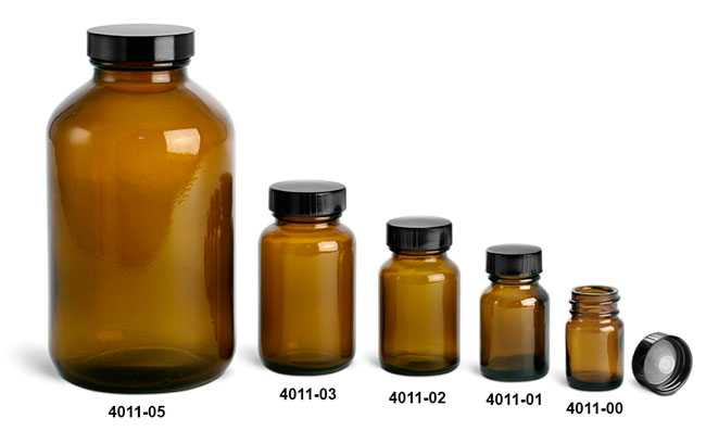 Glass Bottles, Amber Pharmaceutical Round Bottles w/ Lined Black Phenolic Caps