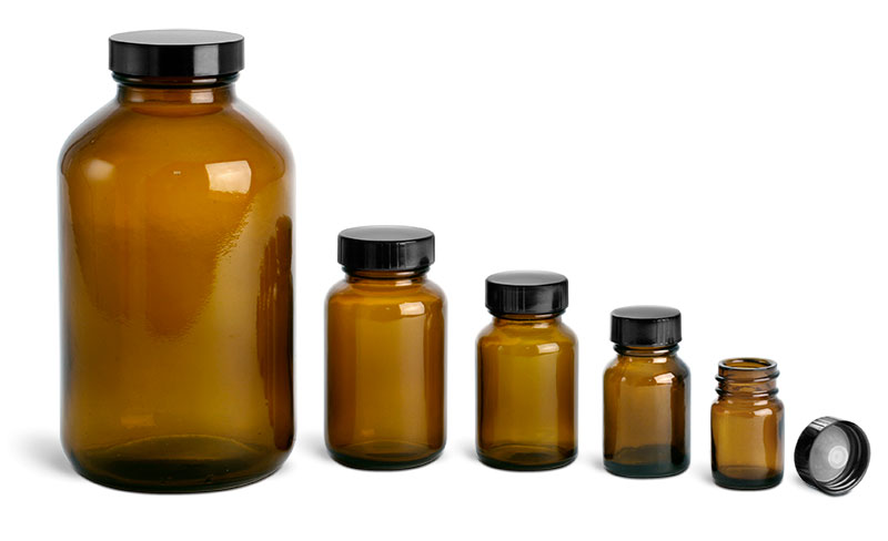 Amber Glass Bottles, Pharmaceutical Round Bottles w/ Lined Black Phenolic Caps