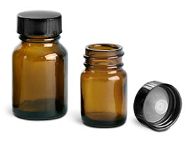 15 cc Amber Glass Pharmaceutical Round Bottles w/ Lined Black Phenolic Caps