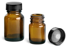 Amber Glass Pharmaceutical Round Bottles w/ Lined Black Phenolic Caps