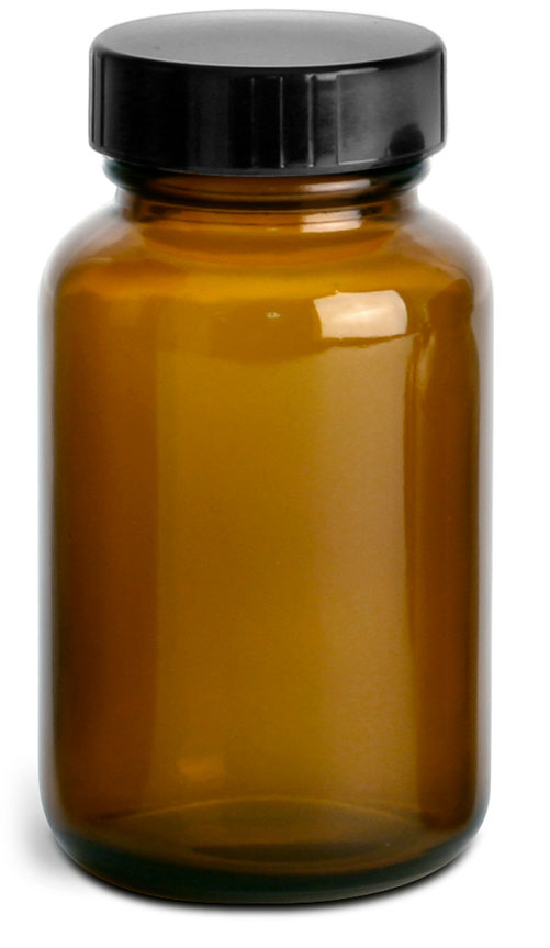 Amber Glass Pharmaceutical Round Bottles w/ Lined Black Phenolic Caps
