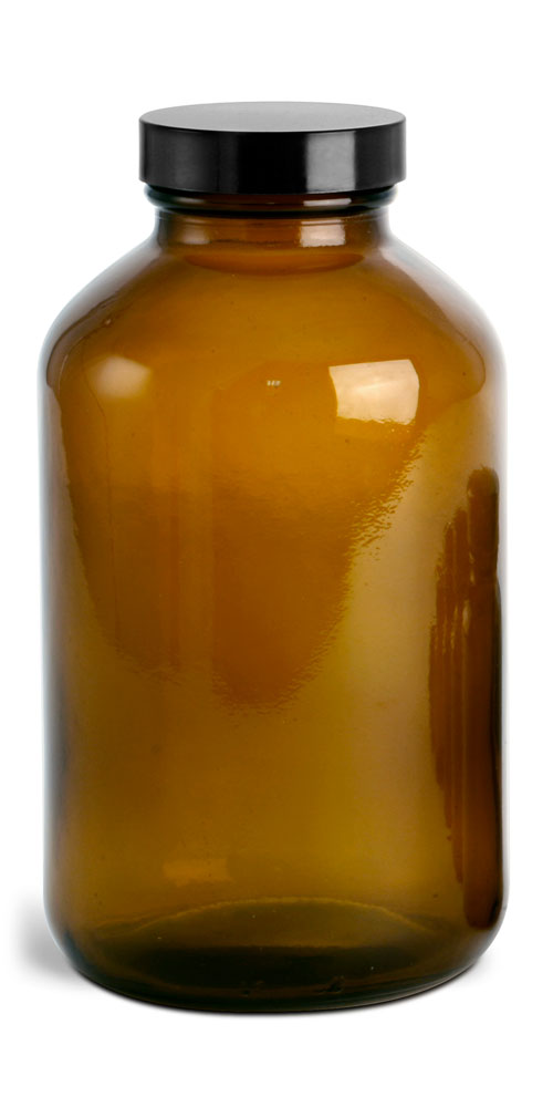 950 cc * Amber Glass Pharmaceutical Round Bottles w/ Lined Black Phenolic Caps