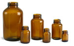 Amber Glass Pharmaceutical Round Bottles (Bulk), Caps NOT Included