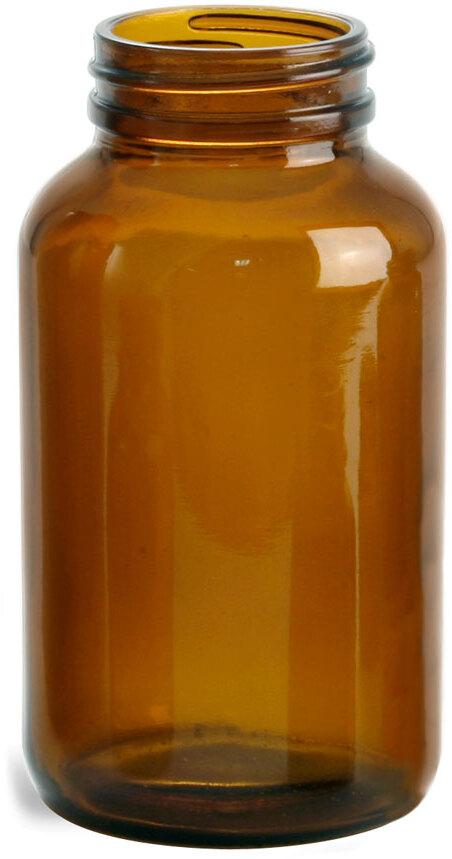 Amber Glass Pharmaceutical Round Bottles (Bulk), Caps NOT Included