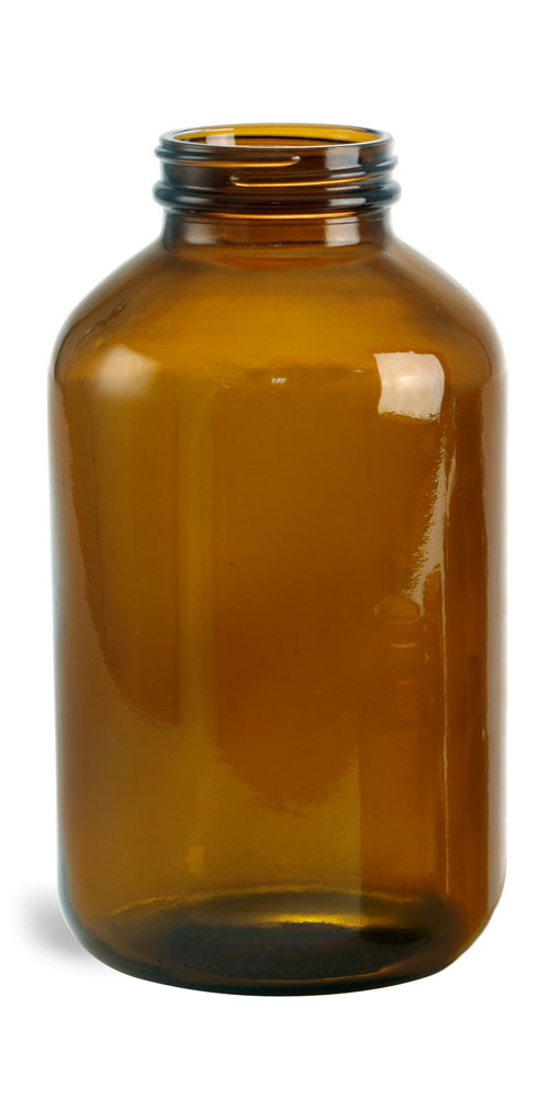 950 cc        Amber Glass Pharmaceutical Round Bottles (Bulk), Caps NOT Included