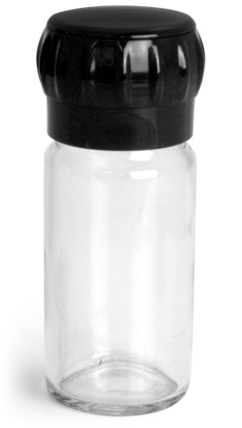 100 ml        Clear Glass Spice Bottle w/ Easy Grip Grinder Cap