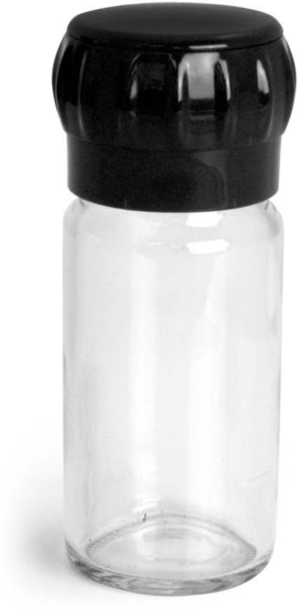 Clear Glass Spice Bottle w/ Easy Grip Grinder Cap