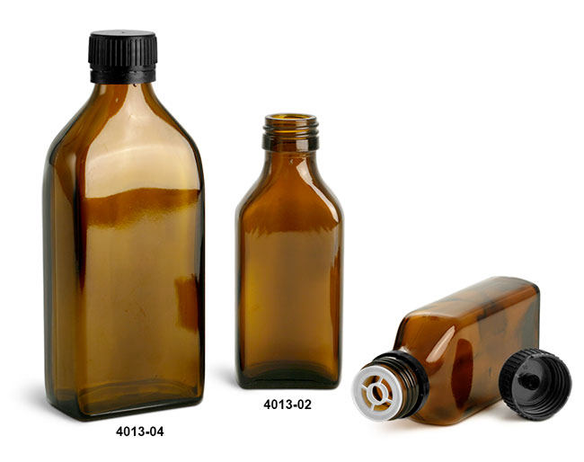 Glass Bottles, Amber Glass Oblong Flasks w/ Black PP Ribbed Closures & Tamper Evident Seal w/ Pouring Insert