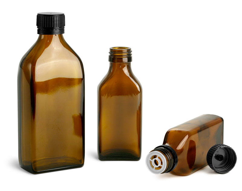 Amber Glass Bottles, Oblong Flasks w/ Black PP Ribbed Closures & Tamper Evident Seals w/ Pouring Inserts